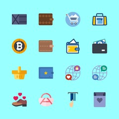 shopping vector icons set. bitcoin, sport bag, internet and shopping bag in this set