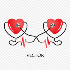 World heart day. Stethoscope of Heart. Vector isolated on transparent background. The design of the medical service, cardiogram.