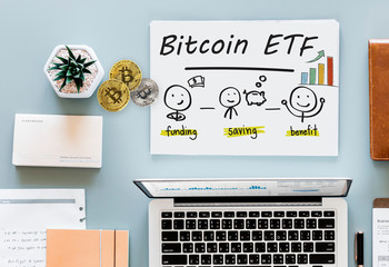 Concept of Bitcoin  ETF (Exchange Traded Fund), Stock exchange, Investment, Crypto currency