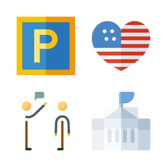 flag vector icons set. salutation, maps and flags, united states and white house in this set
