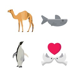 animals vector icons set. camel, penguen, shark and love birds in this set