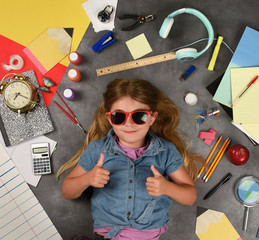 Happy Back to School Education Child with Supplies
