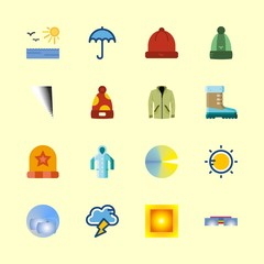 weather vector icons set. umbrella, raincoat, clouds and rainbow in this set