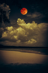 Landscape of sky with bloodmoon on seascape to night. Serenity nature background.