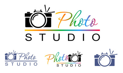 camera with flash in geometric style, logo, sign, icon, symbol, emblem. For a photographer, photo studio