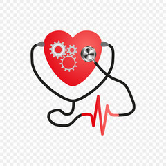 World heart day. Stethoscope Of The Heart. Gear mechanism in the heart. Artificial heart. Vector isolated on transparent background. Medical service design, ECG.