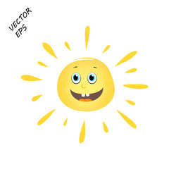 Laughing vector sun on isolated background. A child's drawing of a laughing face. The sun is the concept of summer, rest.