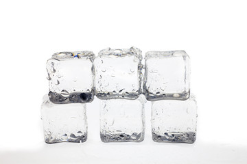 ice cubes on white background.