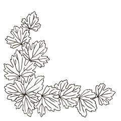 vector contour carved leaf top line pattern  coloring book corner border frame