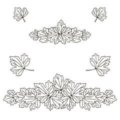 vector contour carved leaf top line pattern  coloring book