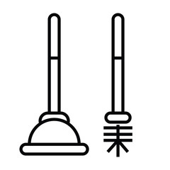 plunger or plumber rubber icon with outline and line style