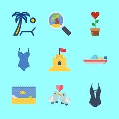 tropical vector icons set. swimsuit, love birds, plant and sea life in this set