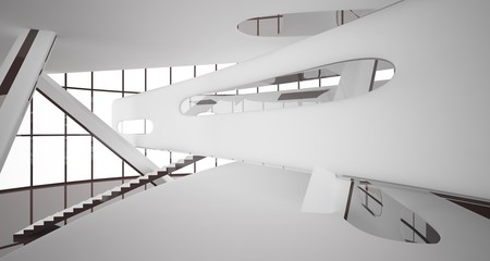Foto op Plexiglas Trappen Abstract dynamic interior with brown smooth objects. 3D illustration and rendering