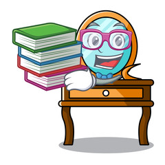 Student with book dressing table mascot cartoon