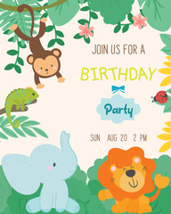 Cute animal theme birthday party invitation card vector illustration.
