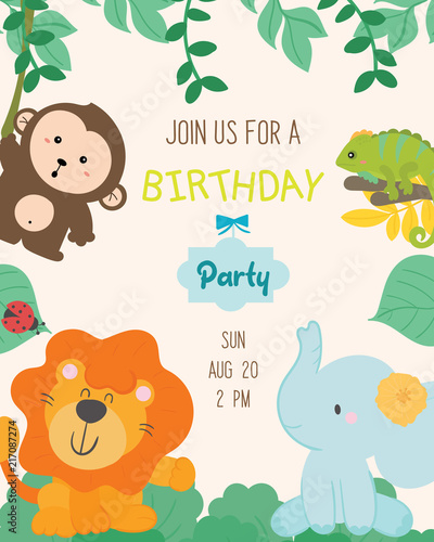 Cute Animal Theme Birthday Party Invitation Card Vector