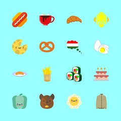 eat vector icons set. wedding cake, fried egg, sushi and salmon in this set