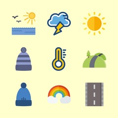 weather icons set. garment, colorful, measure and cap graphic works
