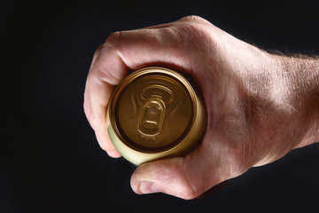 Beer can in hand