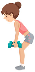 A young woman weight training exercise