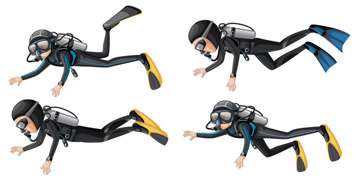 A scuba diver on white background