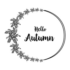 Hello autumn hand lettering design card vector illustration