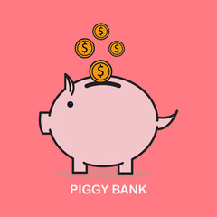 Pink piggy bank with falling coins. The concept of saving money or open a bank deposit.