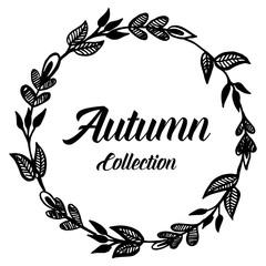 Autumn card frame flower design collection vector illustration