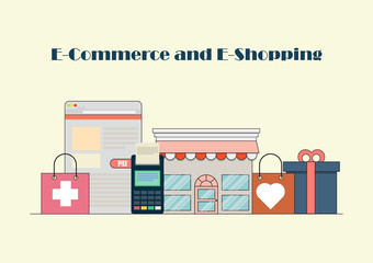flat design banner of E-Commerce and E-Shopping