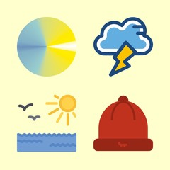 weather icons set. shiny, climate, danger and thunder graphic works