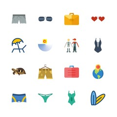beach vector icons set. surfboard, turtle, suitcase and short in this set