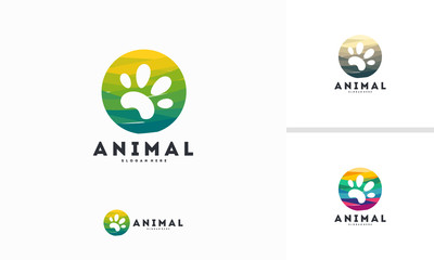 Abstract Circle Pet Paw logo designs concept vector, Animal logo symbol