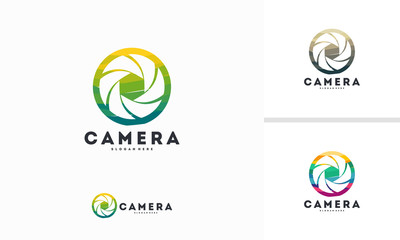 Abstract Circle Lens logo designs concept vector, Photography logo