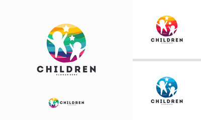 Abstract Circle Children logo template vector, Kids play logo designs symbol