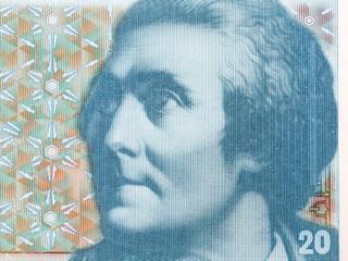 Horace-Benedict de Saussure portrait from Swiss money