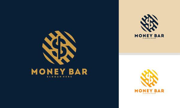 Luxury Dollar Coin logo designs concept vector, Finance logo designs template