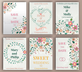 Floral Wedding felicitation elegant invite, set, thank you,  greenery,  bouquet, template , gift certificate, party invitation, congratulation ,flower frame