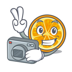 Photographer orange mascot cartoon style