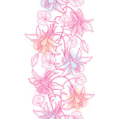Vector vertical seamless pattern with outline Aquilegia or Columbine flower, bud and ornate leaf in pastel pink on the white background. Ornate contour Aquilegia for elegance summer design.