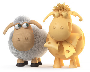 3d illustration ridiculous sheep/3d illustration mutual relation between two sheep