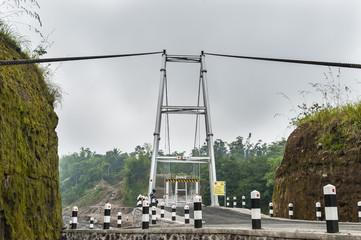 Tower of Suspension bridge in Boyong village, Yogyakarta, Indonesia