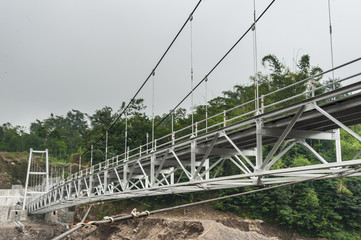 Suspension bridge in Boyong village, Yogyakarta, Indonesia
