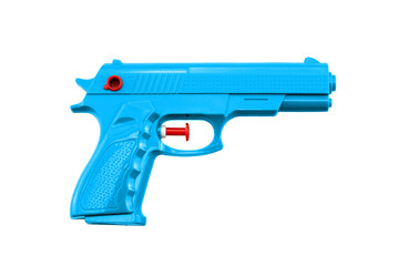 blueplastic water toy gun shaped llike a real one on white background
