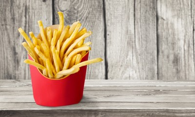 French fries in a carton box