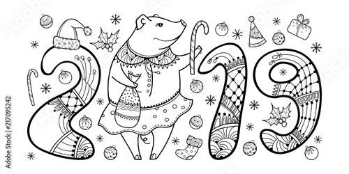 "Year of the pig 2019 coloring pages ~ ""Vector composition of outline black happy pig isolated on ..."
