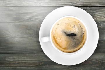 Black coffee on deks