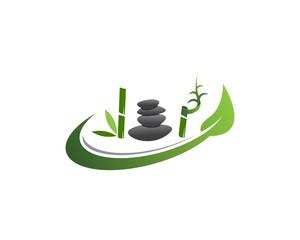 Bamboo icon spa logo design vector illustration