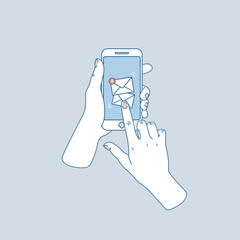 Woman hand holding smartphone. New messages. Social media notifications. Vector illustration