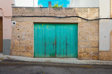 Colorful Weathered Barn frontal shot in surrounding - Mallorca