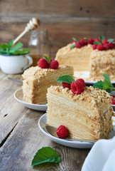 Piece of honey cake with raspberries on a plate